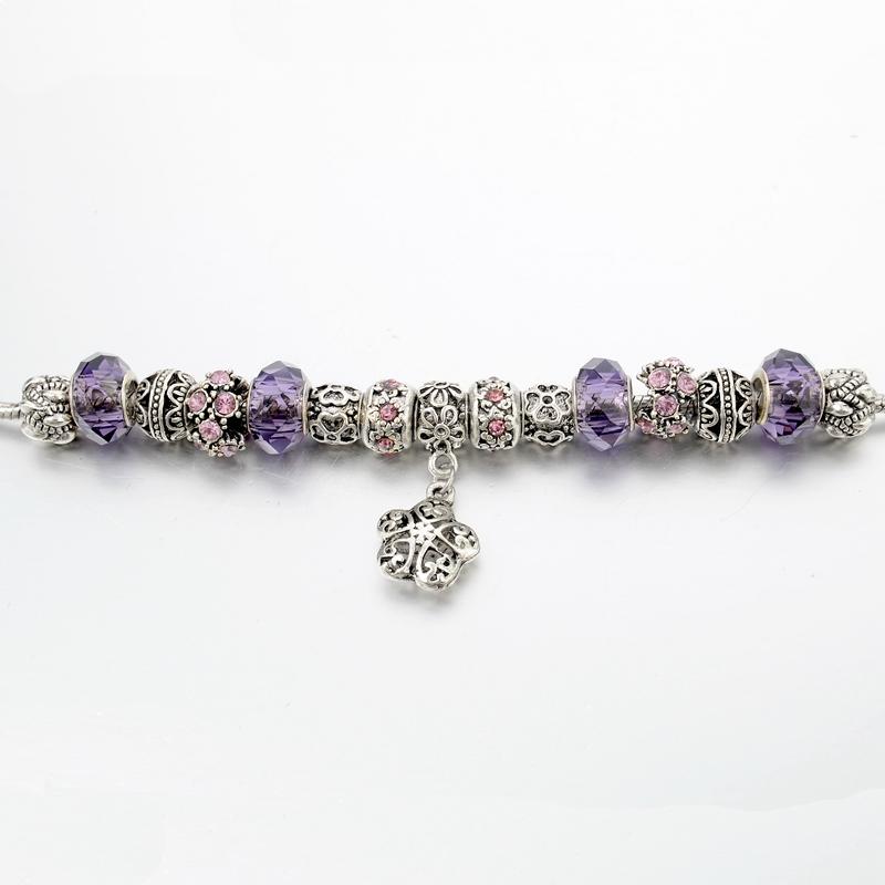 Bratara Charm Silver-Flowered